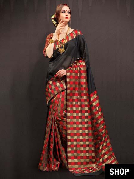 Chanderi black and red saree