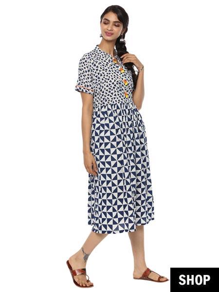 Printed Indigo kurti dress