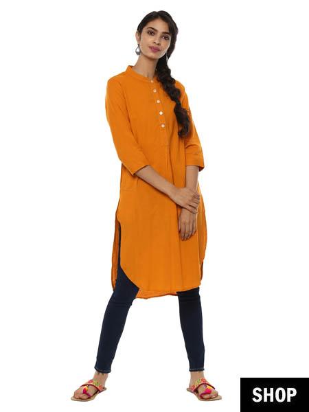 Orange high low kurti