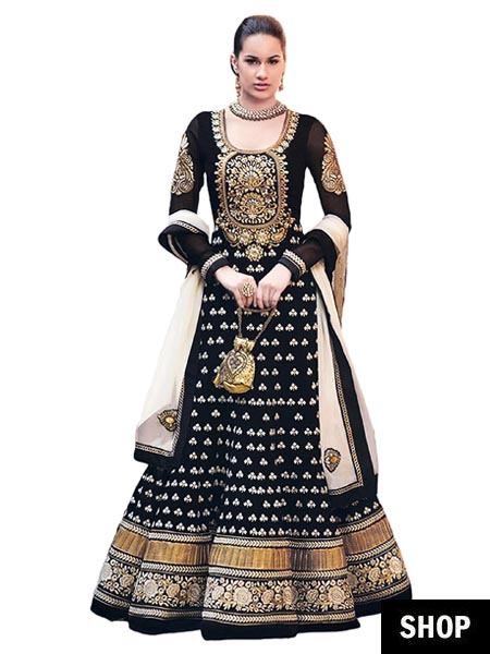 Designer black anarkali