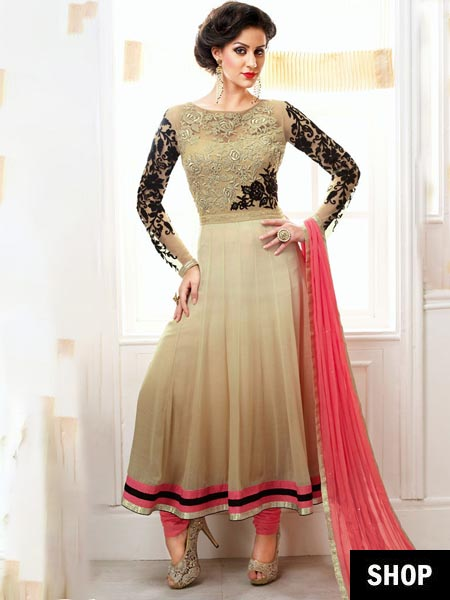 Pink and beige anarkali