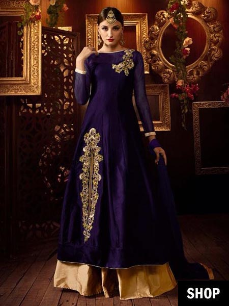 Blue designer anarkali