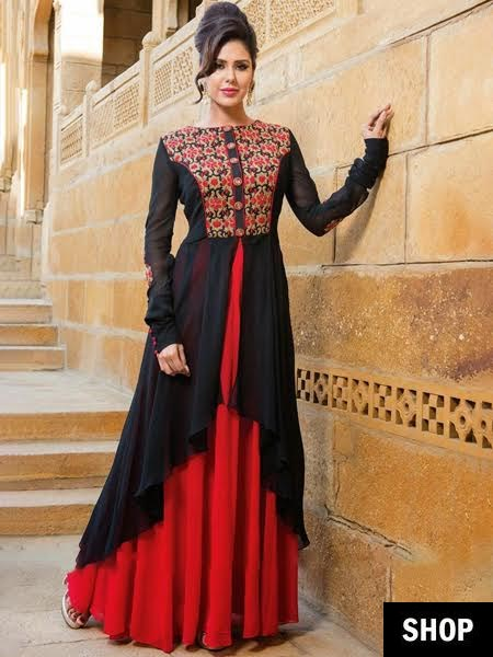 Designer red and black anarkali