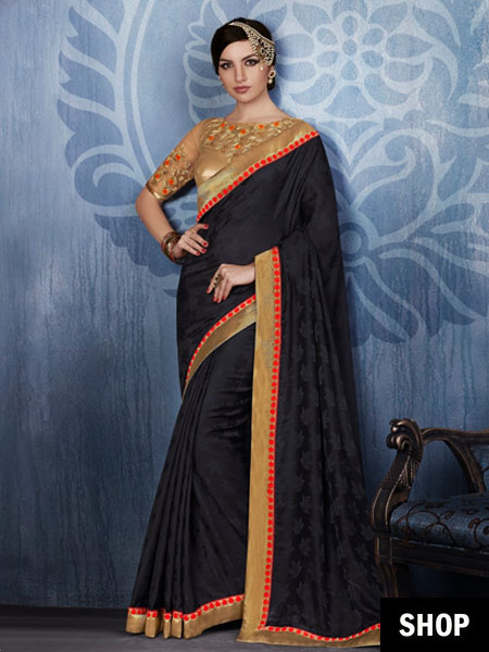 Designer black saree