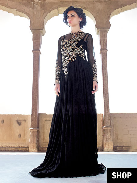 Embellished black gown