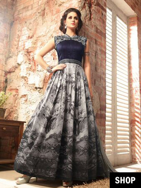 Grey designer gown