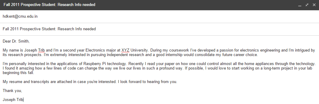 Formal email format to professor