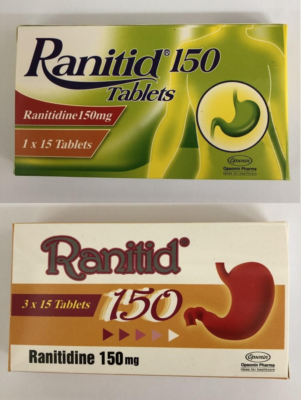 需回收的雷尼替丁产品,包括图示的Ranitid 150药片150毫克。