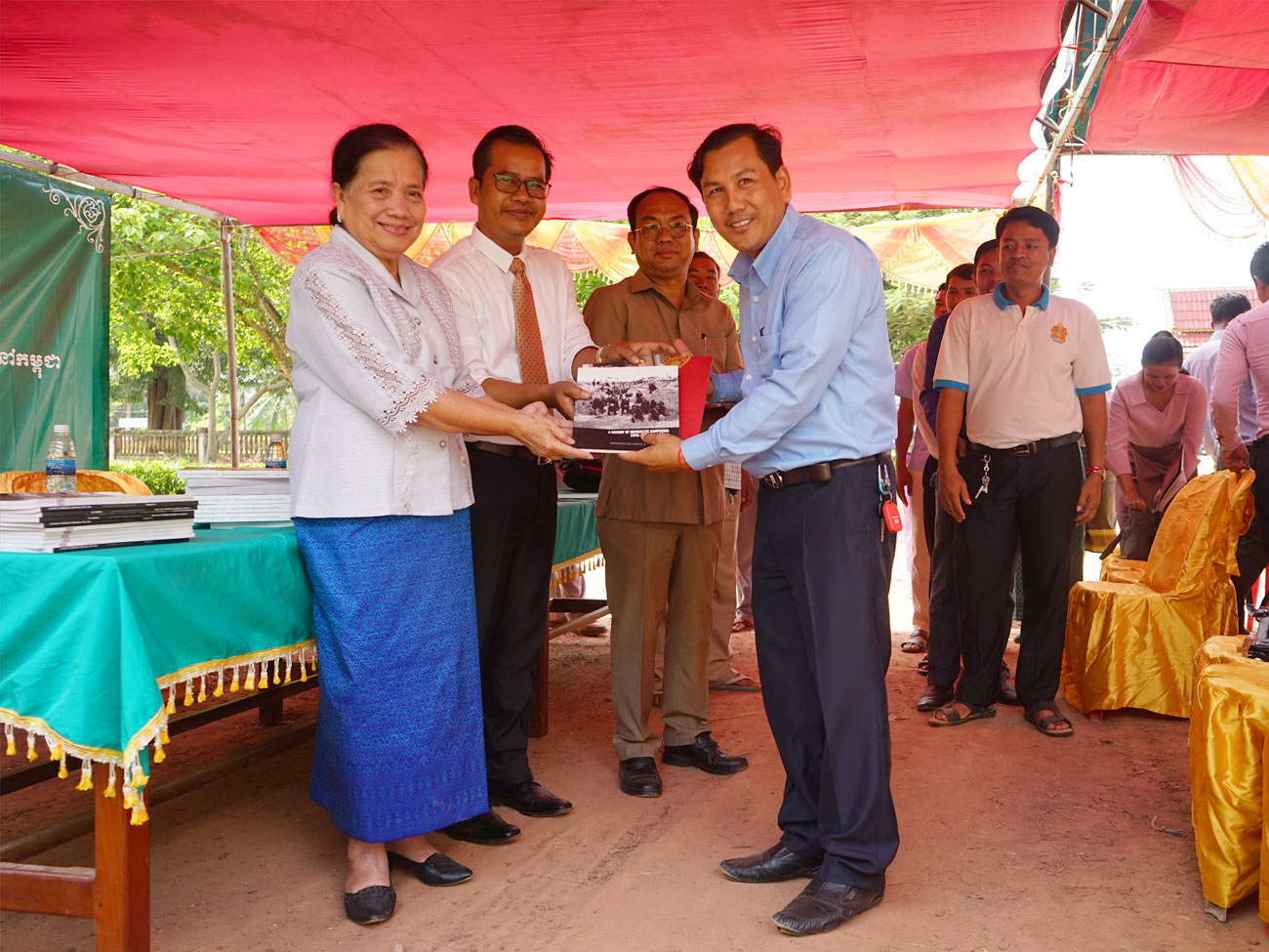 Almost 600 books were given to students and teachers for Khmer Rouge teaching and reading.