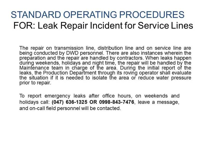 Dinalupihan Water District Leak Repair Incident For Service Lines