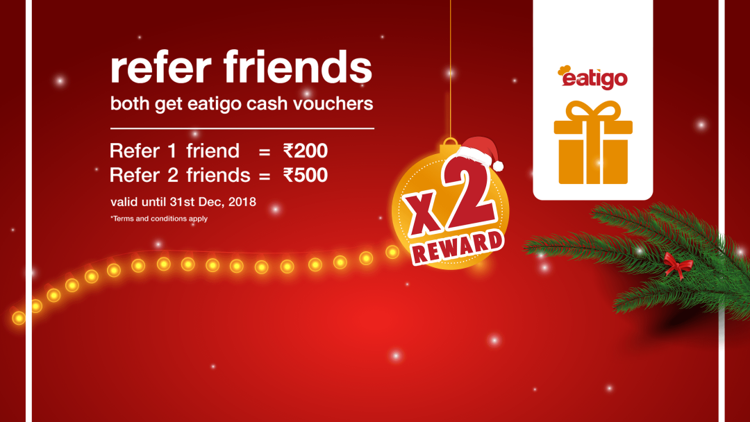 Earn twice the amount of eatigo cash vouchers this December! 2