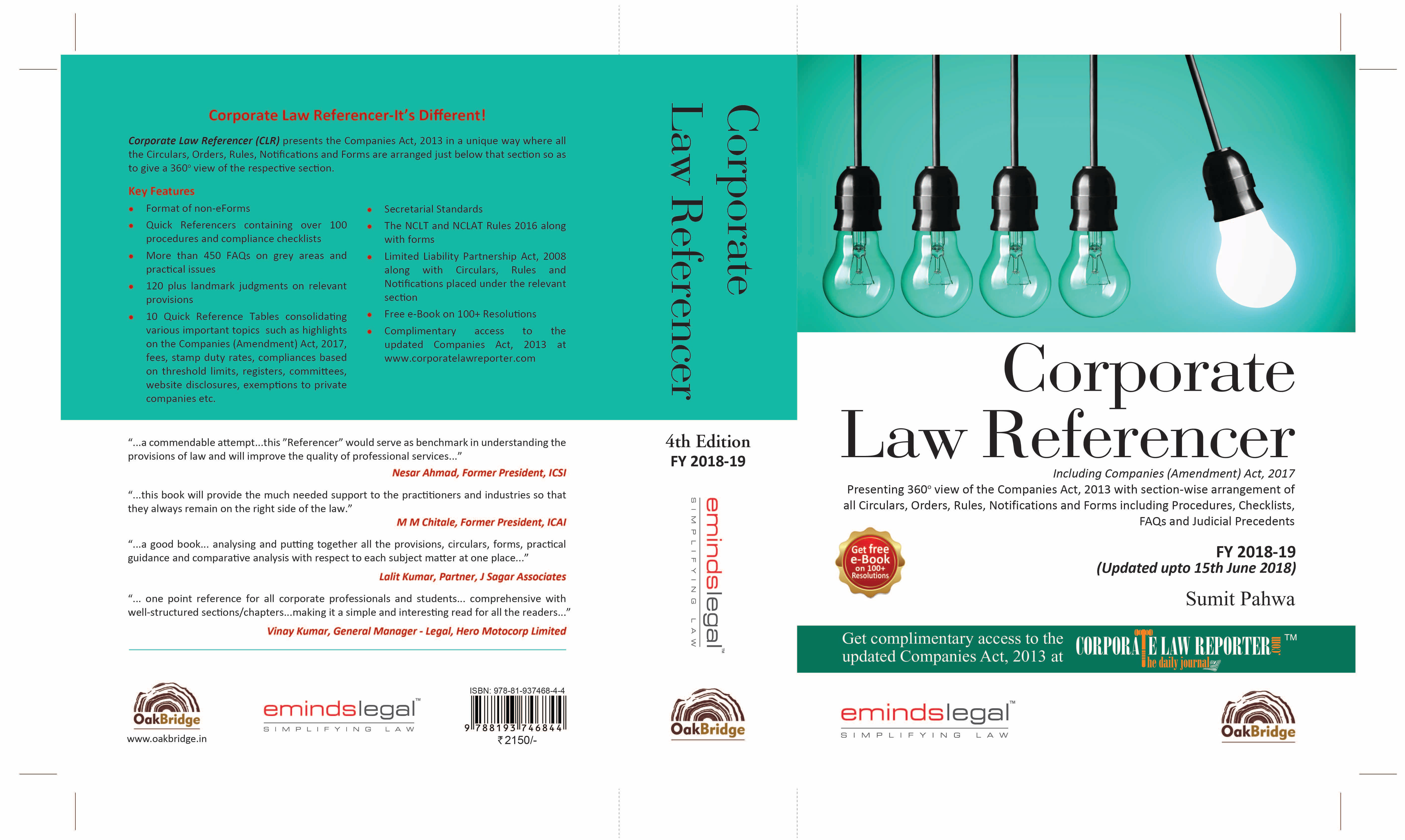 Corporate Law Referencer back cover 4th edition
