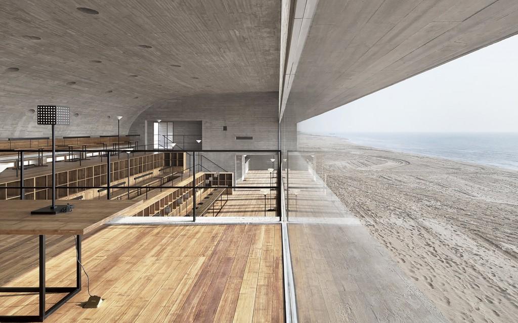中国秦皇岛的海边图书馆