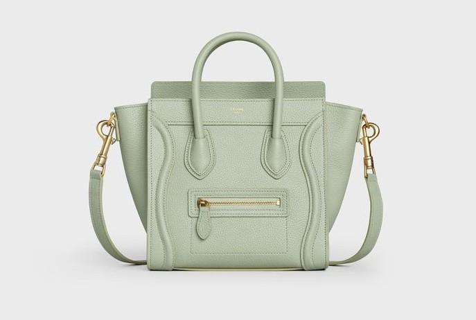 CELINE手袋2020柔霧綠小牛皮袖珍型Luggage手提肩背包