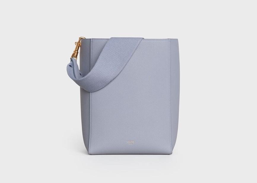 CELINE手袋2020寧靜藍柔軟珠地小牛皮小型SANGLE BUCKET