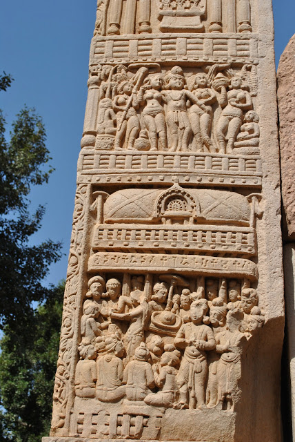 Top - A despondent Ashoka find out that his favorite Bodhi tree is dead. Below Indra and other Gods taking away a lock of Buddha's hair