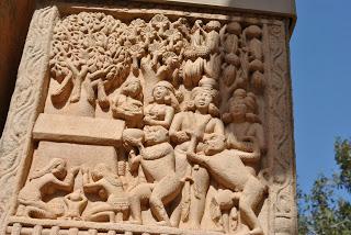 Monkeys giving bowl of honey to Buddha