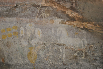 Bhimbetka Rock Shelter 9 - Elegant Horse on right. Yellow dots and aliens on left. Actually flower pots and buds.