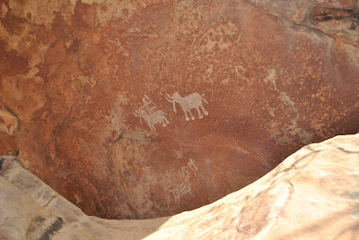Bhimbetka Rock Shelter 1 - Notice the two elephants on top and below the horseman and a soldier.