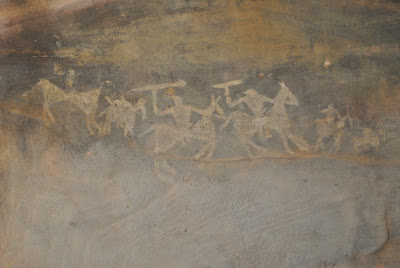 Bhimbetka Rock Shelter 7 - Warriors on horses