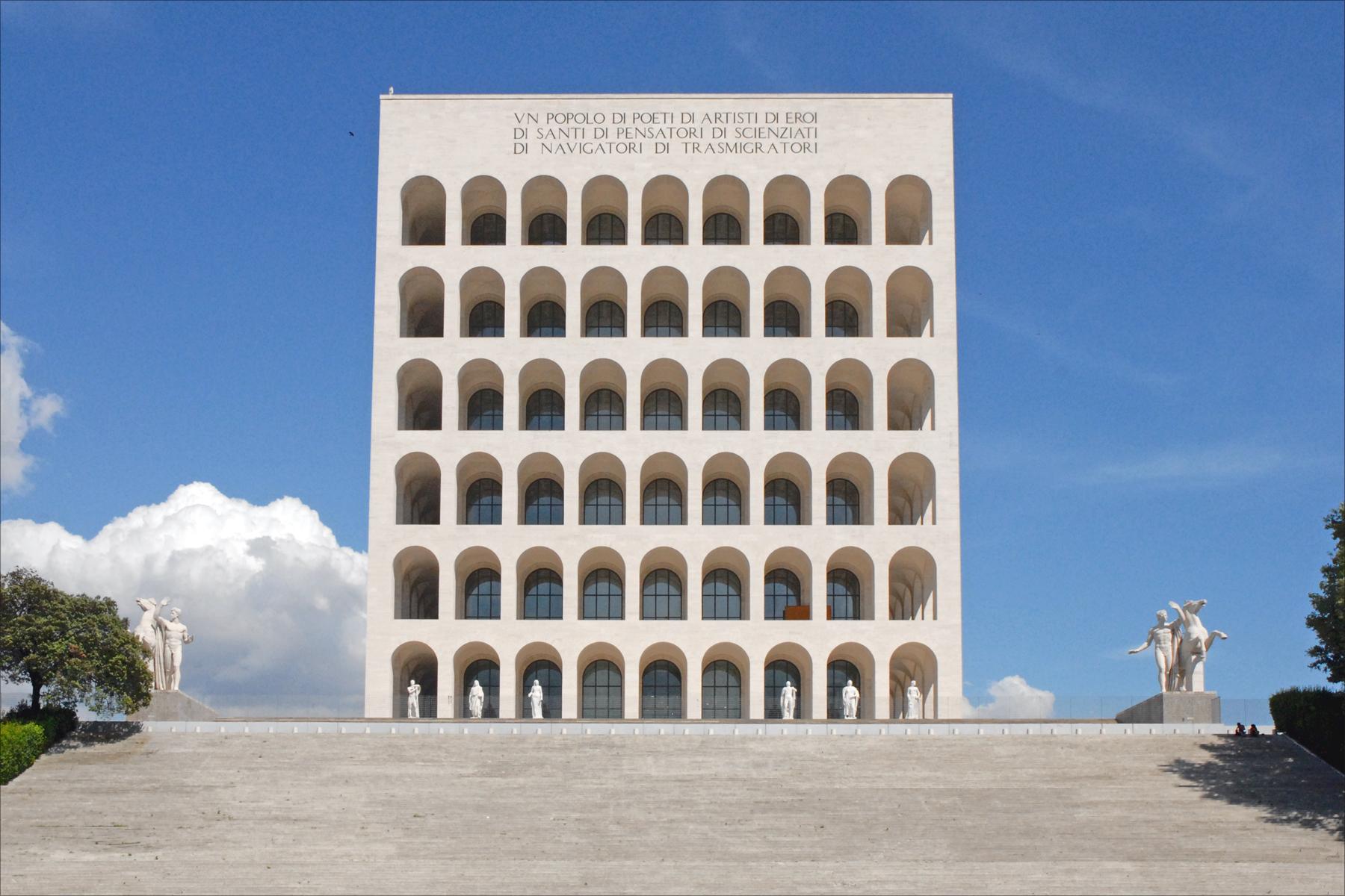 Palazzo della civilta Source: https://upload.wikimedia.org/wikipedia/commons/9/9f/Palazzo_della_civiltà_del_lavoro_(EUR,_Rome)_(5904657870).jpg