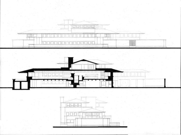 Robie House - Elevations Source: www.pinterest.com