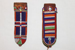 masai Beaded leather earrings