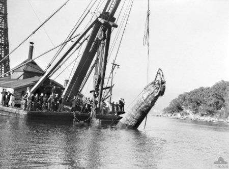 One of the destroyed Japanese submarines in raised after the attack on Sydney Harbour. Photo from the Australian War Memorial.