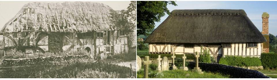 [C] Photo Credit: National Trust. Left: Alfriston Clergy House during c.1896. Right: present Alfriston Clergy House