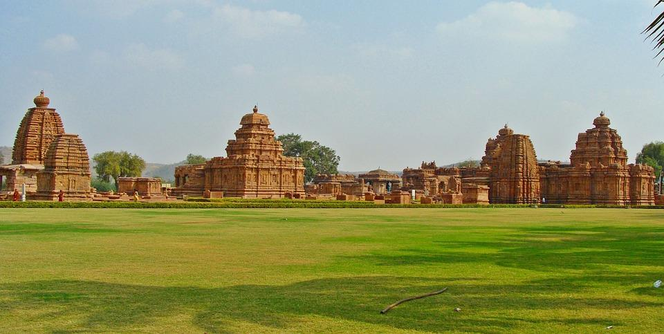Panorama of the Pattadakal cluster of temples
