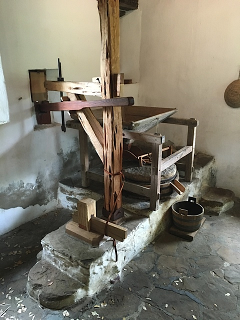 Wheel Room of the gristmill at Mission San Jose. Photo Credit: Kathleen DesOrmeaux June 2015