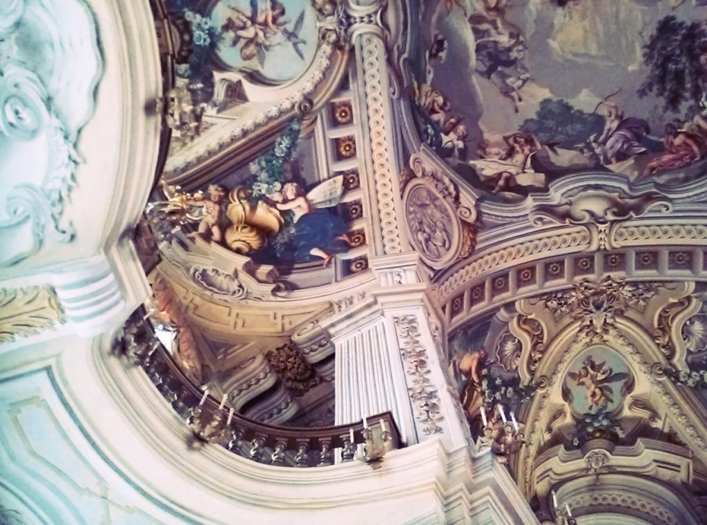 Frescos in Salone d'Onore, piante by Venetian decorators, Hunting House, the Residences of the Royal House of Savoy, Stupinigi, Italy