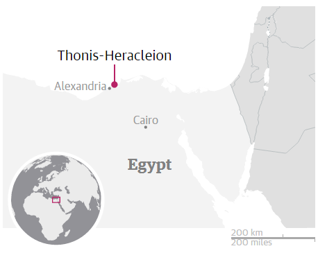 "The location of ancient Egyptian city ""Thonis-Heracleion"" Photo credit: (Shenker, 2016)"