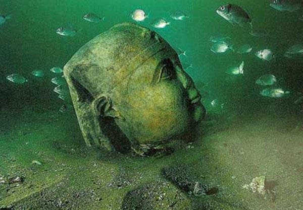 A gigantic stone head believed to be of Caesarion, the son of Cleopatra and Julius Caesar (http://www.fiboni.com/2013/05/lost-city-found-under-water-alexandria-egypt/)