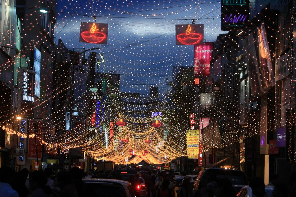 Commercial Street decorated for Diwali celebrations in Bangalore on Monday. --KPN