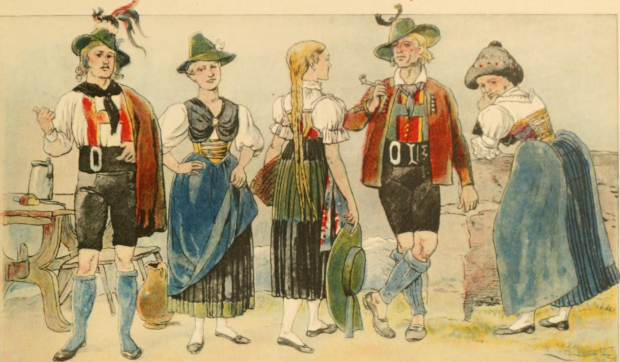 Illustration from the book Geschichte des Kostüms (1905), showing some central European traditional costumes.