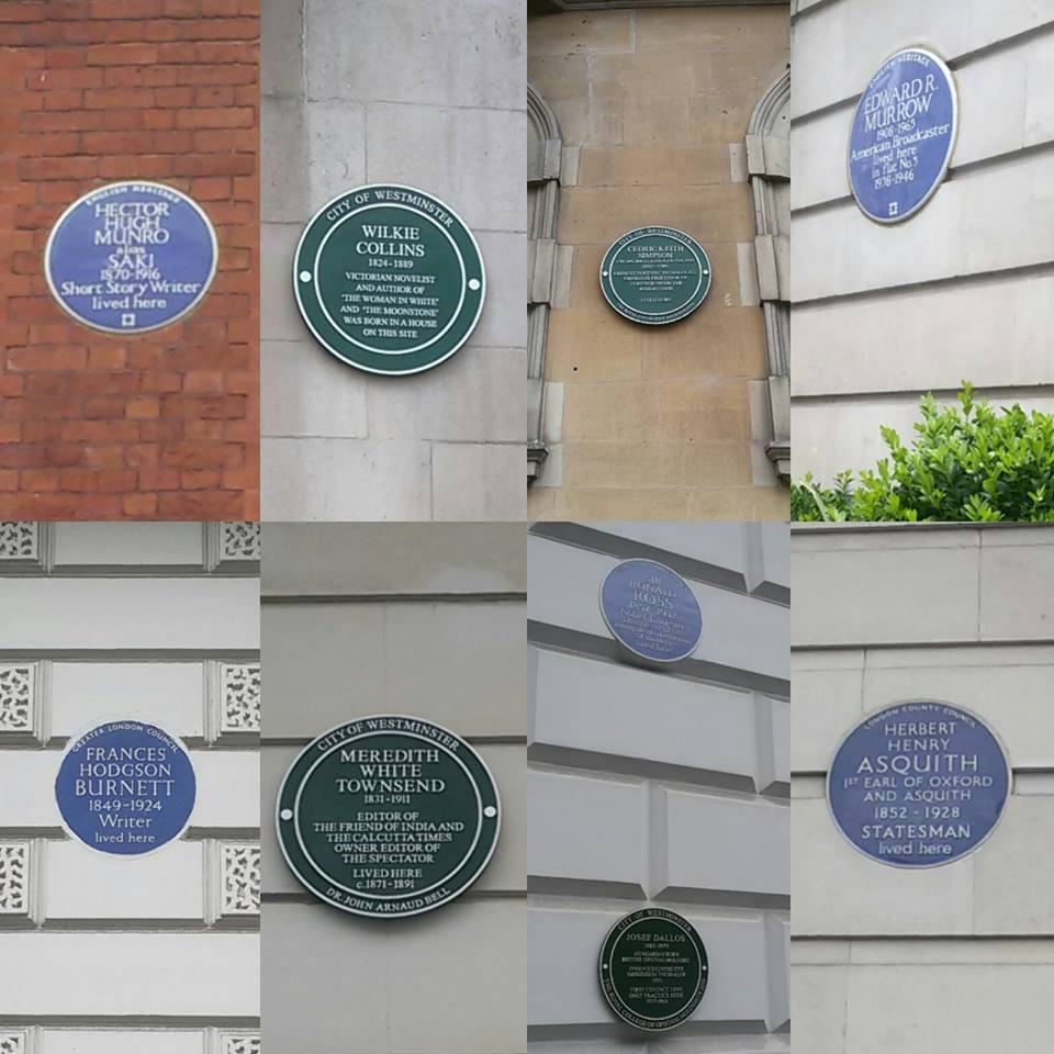 The walk highlighted different aspects of this blue's scheme, as the different design, different councils names and as the number of plaques per building.