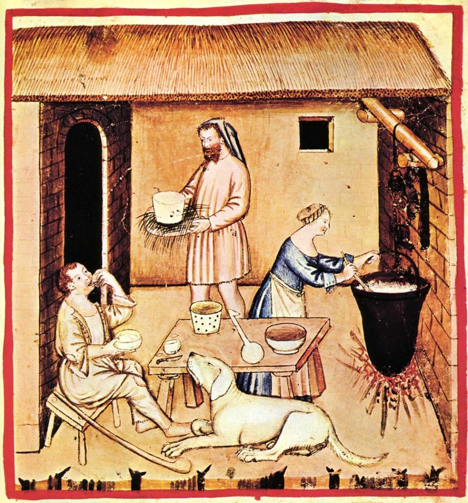 Cheese making-Tacuinum sanitatis Casanatensis (14th century) (Source: https://en.wikipedia.org/wiki/History_of_cheese)