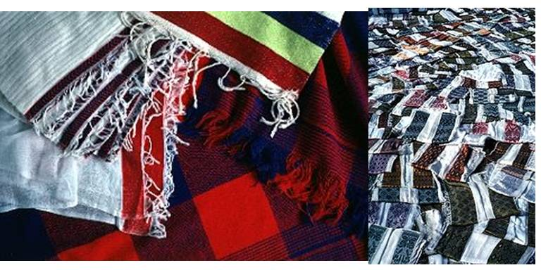 Textiles made by Doko weavers - Photo credit: Left: Kauffam, K (1993). Doko textiles woven by Doko weavers [https://www.h-net.org/~etoc/Pages/ilto_a4.html] Right: Silverman, R A (1998). Netala (Net'ala) textile [https://www.h-net.org/~etoc/Pages/ilto_gallery.html]
