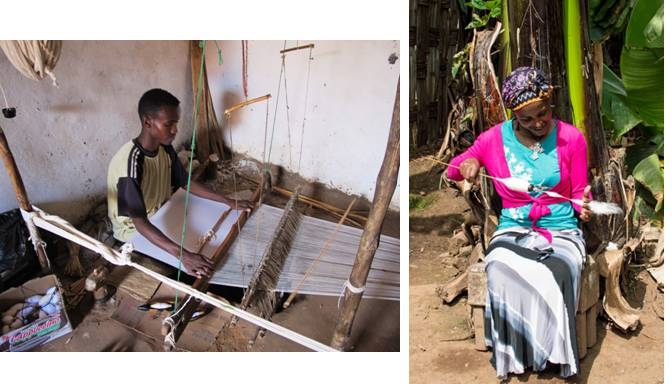 Weaving process - Photo credit: Left: Men weaving spun cotton thread / Traditional weaving machine. Latombe, J-C (2012). [http://ai.stanford.edu/~latombe/mountain/photo/ethiopia-2012/trek/index-3.htm] Right: Woman hand-spinning cotton thread. Edge of Humanity Magazine (2015). [https://edgeofhumanity.com/2015/02/13/artisians/]