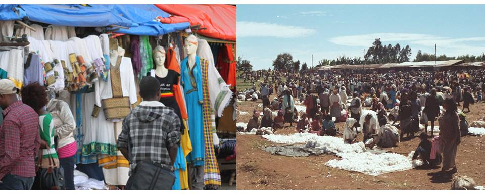 Shiro Meda market, Addis Ababa, and another local market in a highland village - Photo credit: Left: Shiro Meda textile market. Alemayehu, B (2014).[http://addisfortune.net/articles/traditional-garment-markets-face-price-battle/] Right: Cotton section of one of the local markets in the highlands. Rollosson, M (2008). [http://www.panoramio.com/photo/8149222]