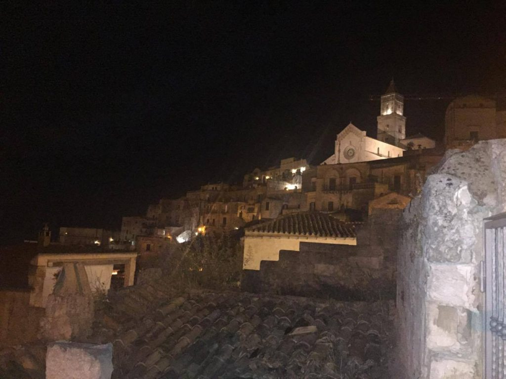 The Cathedral of Matera during a night