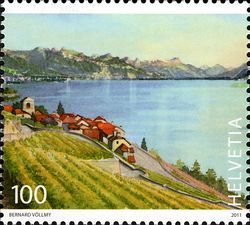 Stamps of Lavaux, Vineyard Terraces in Switzerland