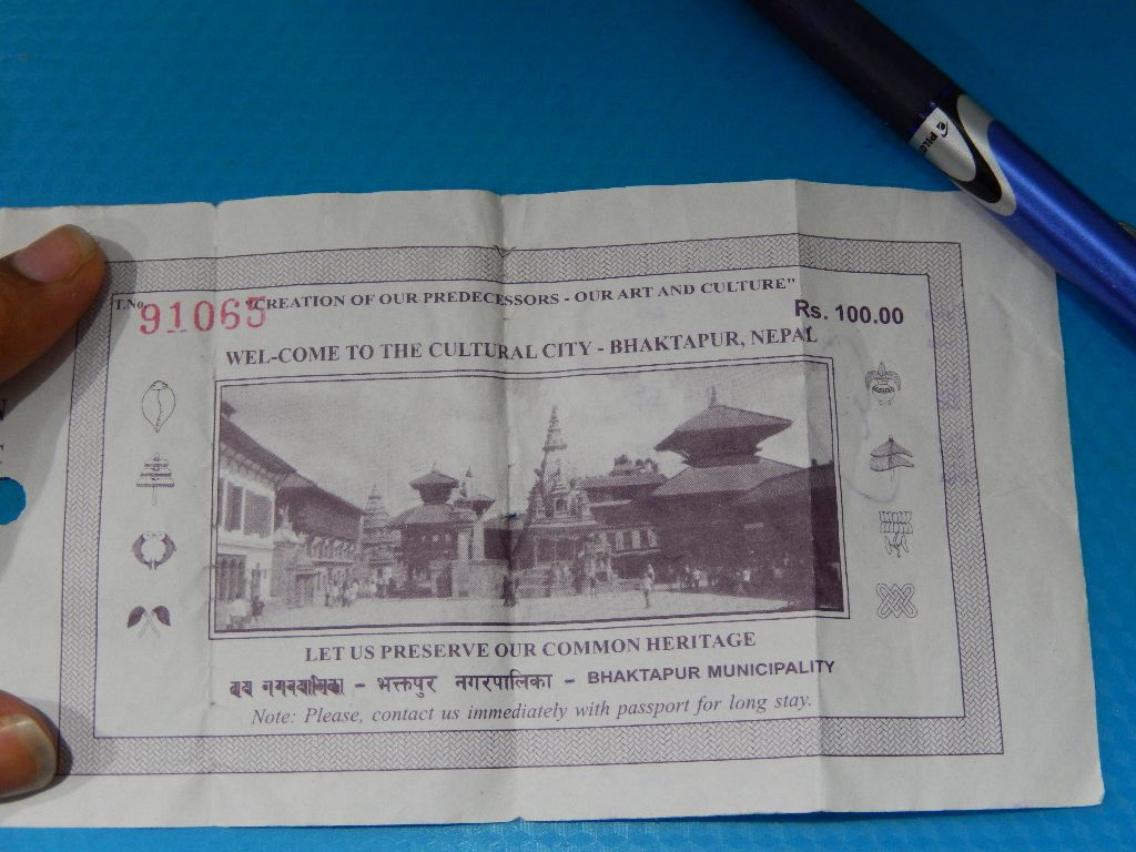 Ticket from my visit to Bhaktapur Durbar Square