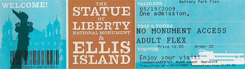 Ticket for Staue of Liberty -USA