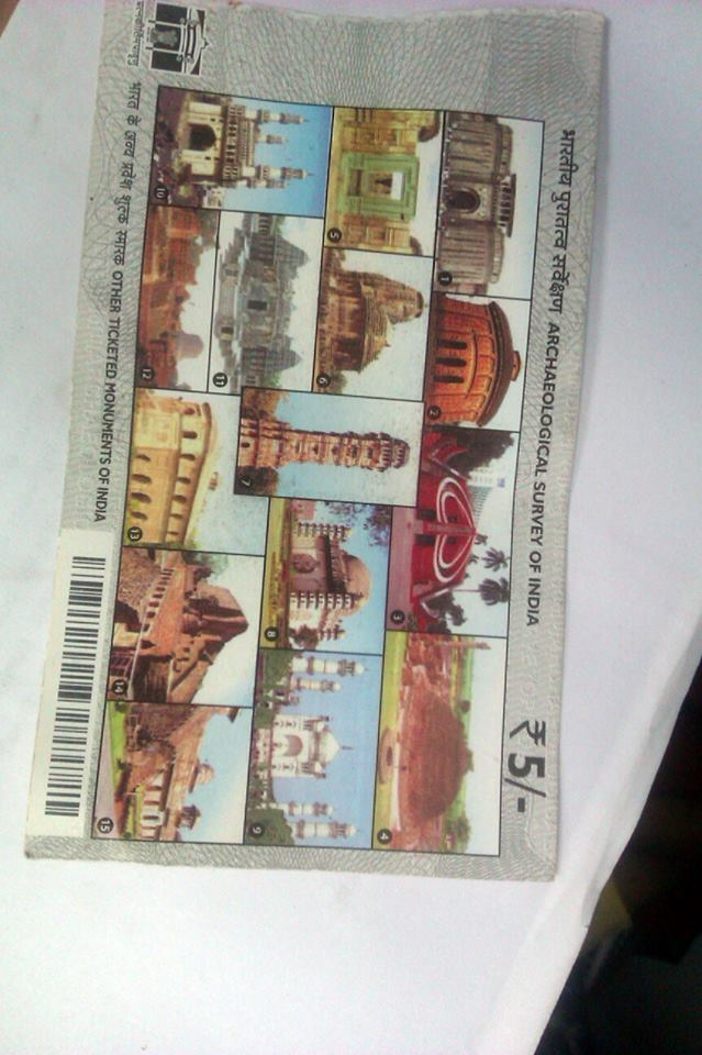 Ticket to protected monuments in India