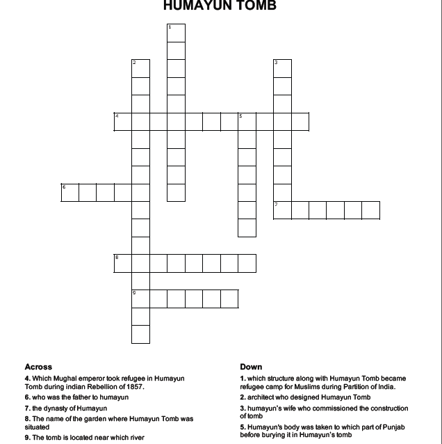 humayun-tomb crossword