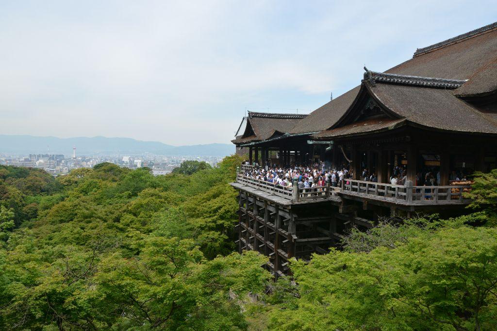 Kiyomuzu-dera's wooden stage above the trees