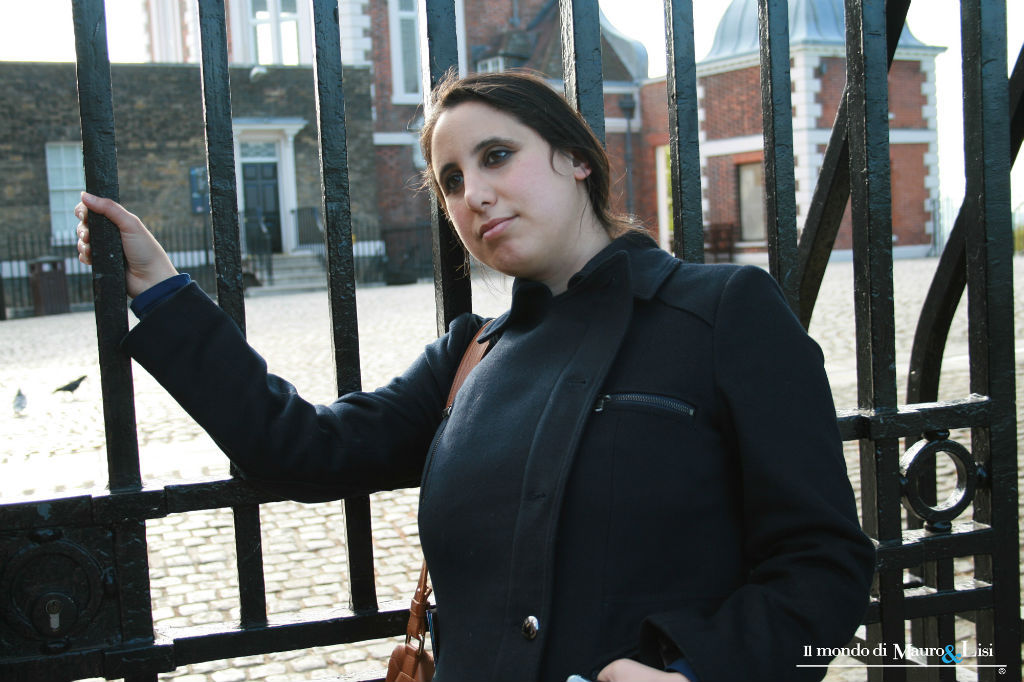 Diletta Nicastro in front of The Old Royal Observatory gate.