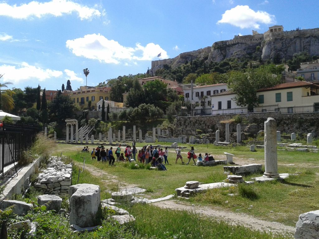 The Roman Agora in Athens when a school was visiting, located to the north of the Acropolis and the east of the Ancient Agora - photo by N. Platia